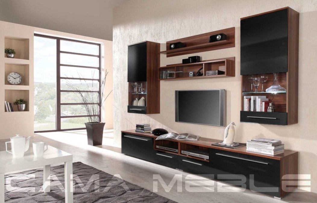 Moderní obývací stěna LUNA švestka-černá