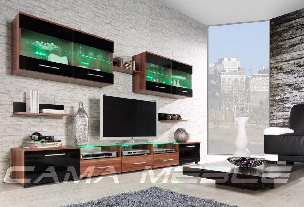 Moderní obývací stěna Cama1 švestka-černá+švestka