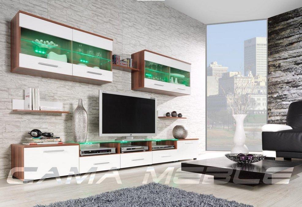 Moderní obývací stěna Cama1 švestka-bílá