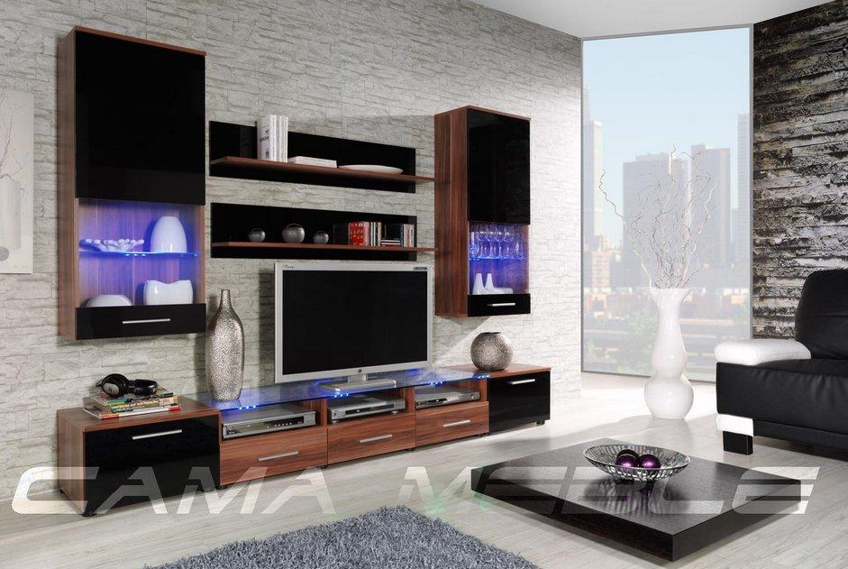 Moderní obývací stěna Cama2 švestka-černá+švestka