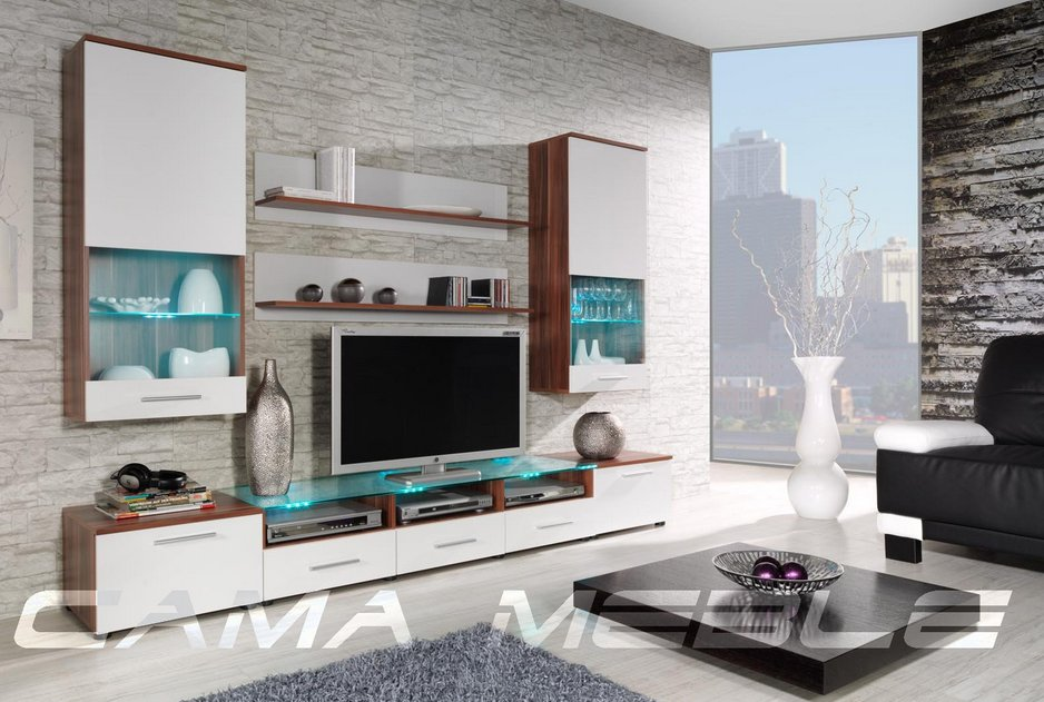Moderní obývací stěna Cama2 švestka-bílá