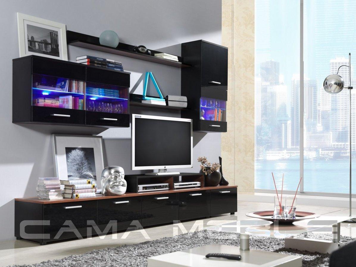 Moderní obývací stěna LOGO 2 černá+švestka/černá