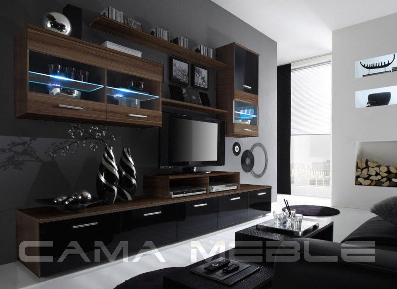 Moderní obývací stěna LOGO 2 švestka/černá