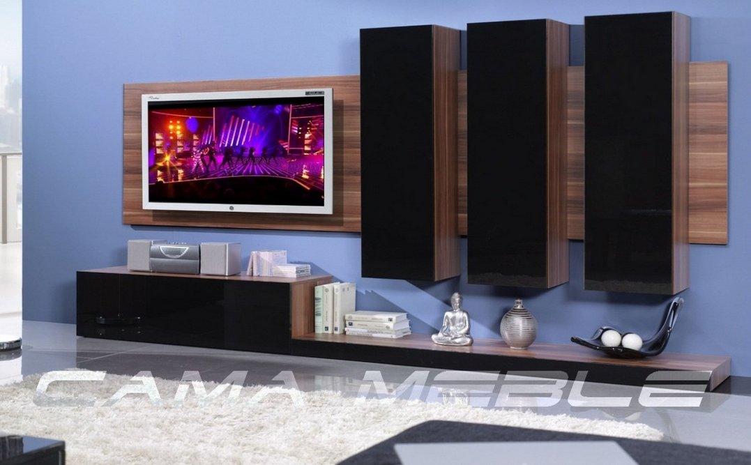 Moderní obývací stěna LIFE švestka/černá